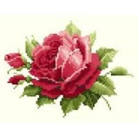 Роза - набор алмазная мозаика, 21х16 см (основа- холст) - ПОЛНАЯ выкладка