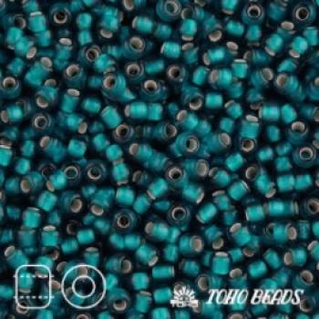Японский бисер TOHO 15/0, 10 гр. - TR15-27BDF - Внутреннее серебрение матовое (Silver-Lined Frosted), бирюзовый (Teal)