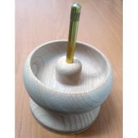 Спиннер (прялка) для нанизывания бисера, деревянный (бук), чаша 10 см (Чехия)