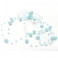 Бусины на леске под жемчуг, пластик, голубой, ~1,3м