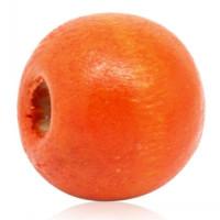 Бусина деревянная 11-12мм - оранжевая, 1шт