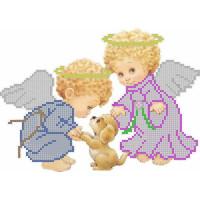 Канва под бисер Матрешкина - Ангелочки с собачкой, 20х15см