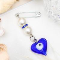 Булавка-оберег Счастье, 20мм, цвет бело-синий в серебре