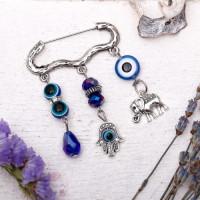 Булавка-оберег На исполнение желаний, 80мм, цвет бело-синий в серебре
