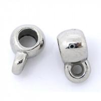 Бейл литой круглый гладкий, 9x4мм, под серебро, 1шт