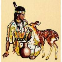 Набор для вышивания крестом Овен №061 Девушка и олень