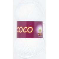 Пряжа COCO (КОКО), Vita Cotton (Индия), 240м, 50гр, 100% мерсеризованный хлопок, 3851 - Белый