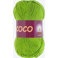 Пряжа COCO (КОКО), Vita Cotton (Индия), 240м, 50гр, 100% мерсеризованный хлопок, 3861 - Ярко-зеленый