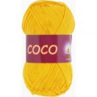 -Пряжа COCO (КОКО), Vita Cotton (Индия), 240м, 50гр, 100% мерсеризованный хлопок, 3863 - Желтый