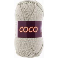 Пряжа COCO (КОКО), Vita Cotton (Индия), 240м, 50гр, 100% мерсеризованный хлопок, 3887 - Светло-серый