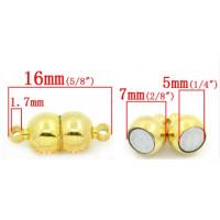 Магнитная застежка-шар гладкая, 7x16 мм, под золото, 1шт