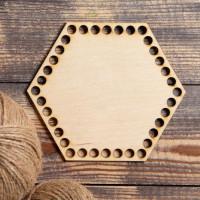 Заготовка для вязания - Донышко для корзины -  Шестиугольник фанера 3мм 15x15см, 1шт