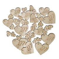 Набор бирок Hand made, сердечки, 40х43мм - 6шт; 30х33 мм - 6шт;15х16 мм - 27 шт