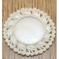 Основы-рамки для кабошонов (внутр. 20 мм), пластик, 1 шт. - цв. жемчужный белый