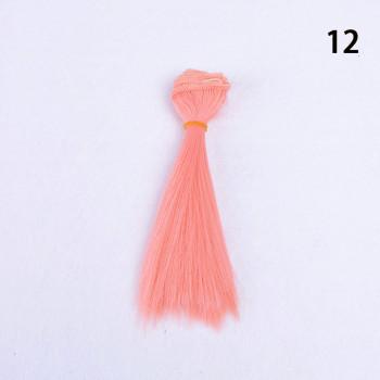 Волосы - трессы для кукол Прямые длина волос 15 см, ширина 100 см, цвет персик