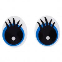 Глаза винтовые с заглушками (безопасные) с нарисованными ресничками, 18,5х15мм, черно-бело-голубые, 1 пара