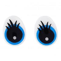 Глаза винтовые с заглушками (безопасные) с нарисованными ресничками, 13х10мм, черно-бело-голубые, 1 пара