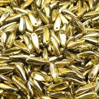 Dagger Beads (Лепестки) - Бусины чешские стеклянные 3х10мм, 26441 - хрусталь янтарный-золотой полупрозрачный (25шт)