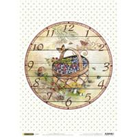 Рисовая бумага для декупажа Craft Premier Часы. Корзинка А3, Арт. CP04167, 1 лист
