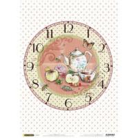 Рисовая бумага для декупажа Craft Premier Часы. Чаепитие А3, Арт. CP04174, 1 лист