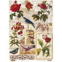 Рисовая бумага для декупажа Craft Premier Птички и цветочки А3, Арт. CP04198, 1 лист