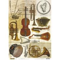 Рисовая бумага для декупажа Craft Premier Музыкальные инструменты А3, Арт. CP04266, 1 лист