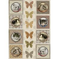 Рисовая бумага для декупажа Craft Premier Восемь котов А3, Арт. CP04488, 1 лист