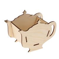 Заготовка для декупажа Шкатулка для чайных пакетиков в виде чайника 18х13х9см