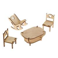 Набор заготовок для творчества: стол, 2 стула, кресло-качалка