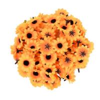 Головка ромашки 4см, оранжевый с черной серединкой (Подсолнух), 1шт