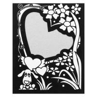 Фоторамка Щенок и сердечко, контурная раскраска с подставкой