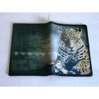 Декупаж - Обложка для паспорта натуральная кожа - Леопард