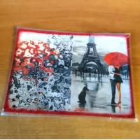 Декупаж - Обложка для паспорта натуральная кожа Париж влюбленная пара под красным зонтом