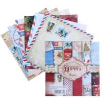 Набор бумаги для скрапбукинга Новогодняя почта 6 листов 14,5х14,5см, 160 гр/м2