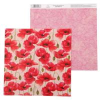 Бумага для скрапбукинга Цветочная симфония Маки 30,5х30,5см, 180 гр/м2, 1 лист