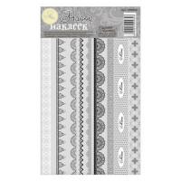 Набор декоративной клейкой ленты Черное кружево, 12,5х21см, 1 лист