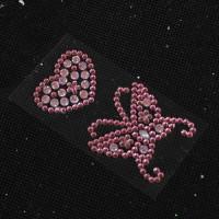 Стразы 40-50мм с клеевым слоем Бабочка и сердце, розовые