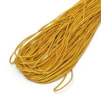 Эластичный шнур 1,5 мм с текстильным покрытием (шляпная резинка) - Золото, 1м