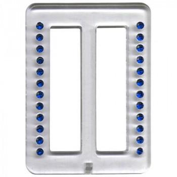 Пряжка пластиковая Micron 52x70мм со стразами синими в прозрачной оправе