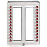 Пряжка пластиковая Micron 52x70мм со стразами красными в прозрачной оправе