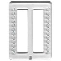 Пряжка пластиковая Micron 52x70мм со стразами белыми в прозрачной оправе