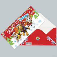 Конверт-открытка для денег Paw Patrol С новым годом!